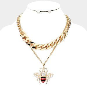 Pearl Honey Bee Pendant Chain Necklace & Earrings